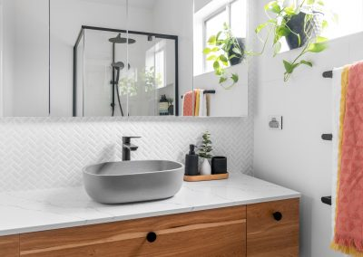 Plants, colours and textures make a big impact in a small bathroom
