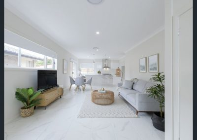 Staging the living area allows buyers to see how the space will work